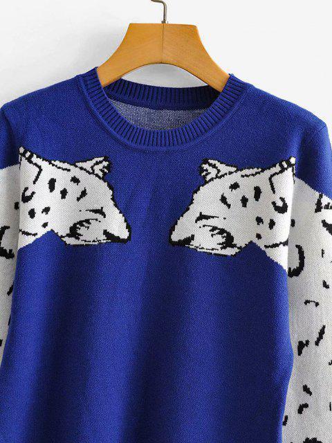 Doppelte Leopard Pullover mit Rundhalsausschnitt - Blau L Mobile