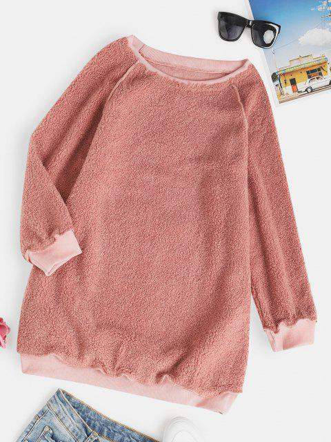 fancy Raglan Sleeve Slouchy Tunic Teddy Sweatshirt - LIGHT PINK S Mobile