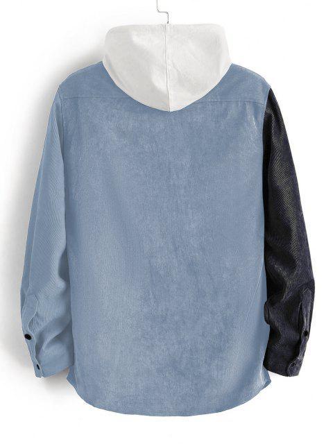 ladies Colorblock Panel Long Sleeve Corduroy Shirt - BLUE GRAY M Mobile