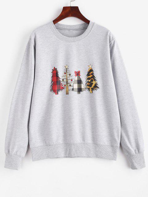 women's Crewneck Christmas Trees Sweatshirt - GRAY S Mobile