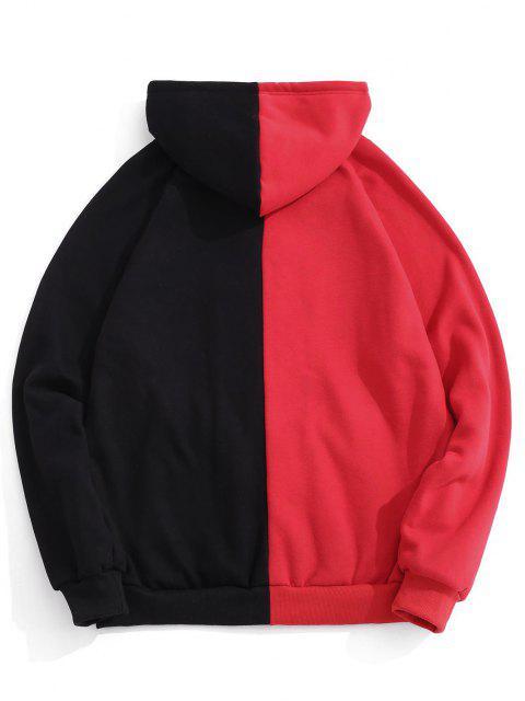 women Hooded Letter Print Two Tone Fleece Jacket - BLACK L Mobile