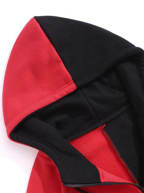 ladies Hooded Letter Print Two Tone Fleece Jacket - BLACK 2XL Mobile