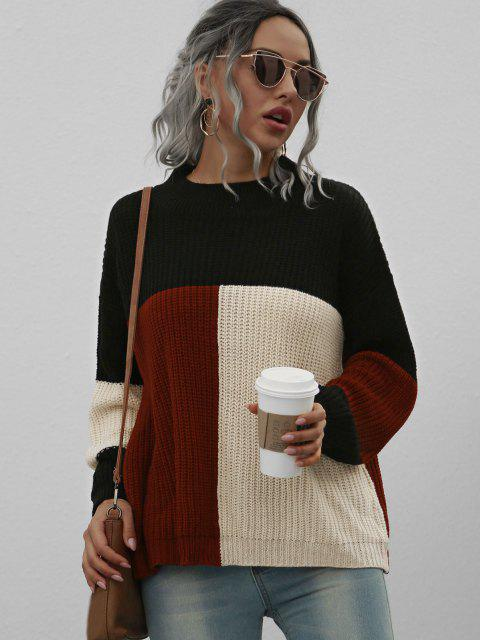 new Loose Mock Neck Colorblock Sweater - BLACK M Mobile