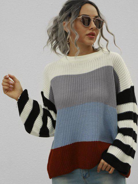 Lose Farbblock Streifen Pullover mit Rundhalsausschnitt - Weiß M Mobile