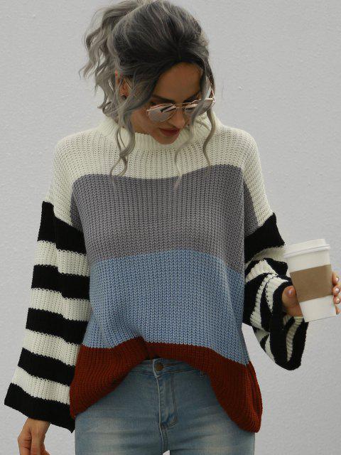 chic Loose Colorblock Stripes Crew Neck Sweater - WHITE L Mobile