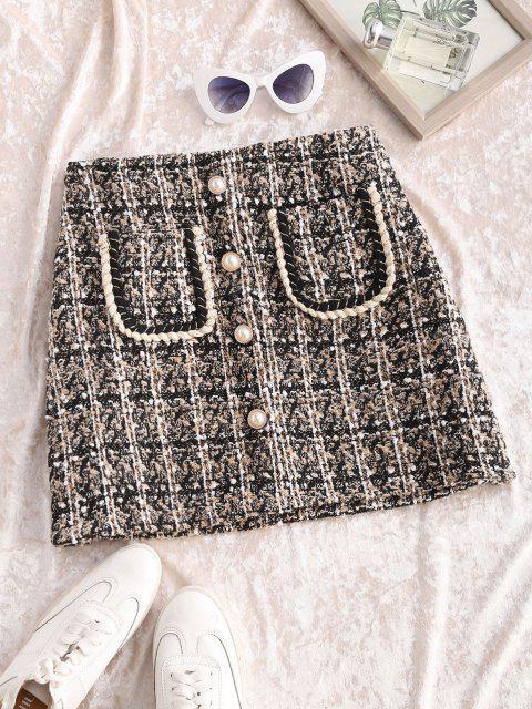 online Pocket Faux Pearl Button Tweed Mini Skirt - BLACK M Mobile
