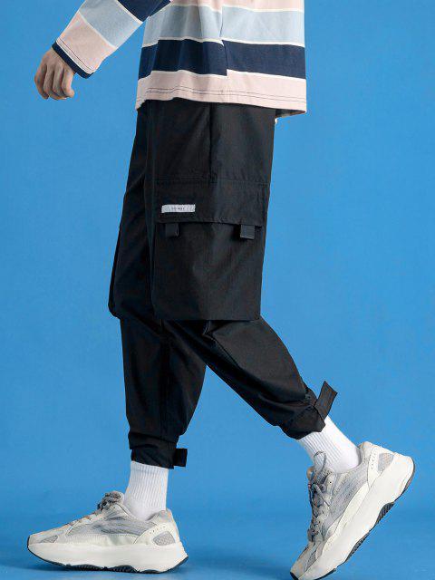 Pantalones de Carga con Aplicación de Gancho y Cordón de Letras - Negro S Mobile