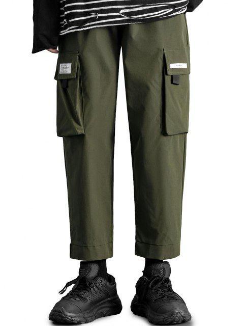 Pantalones de Carga con Aplicación de Gancho y Cordón de Letras - Ejercito Verde L Mobile