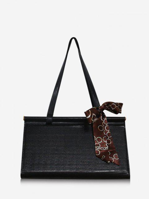 fashion Solid Office Scarf Handbag - BLACK  Mobile