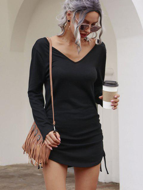 chic Double V Cinched Side Long Sleeve Dress - BLACK L Mobile