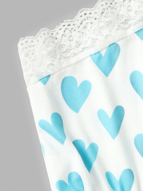 Herzdruck Spitze Insert Herz Dessous Set - Blau S Mobile