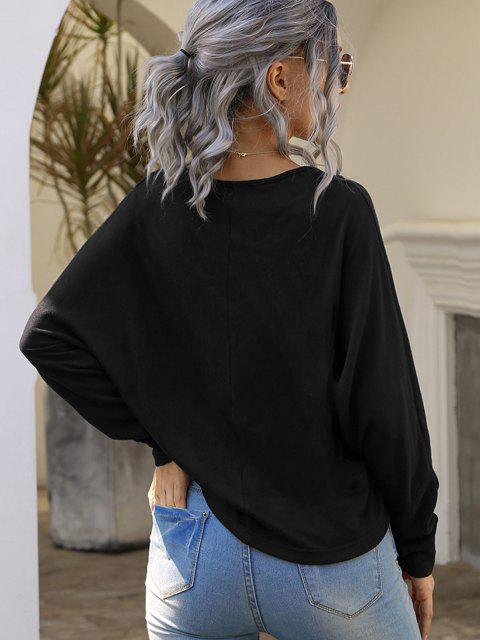trendy Dolman Sleeve Cinched Front V Neck Knitwear - BLACK S Mobile