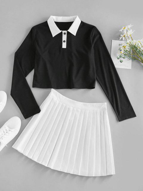 outfits ZAFUL Button Placket Colorblock Pleated Skirt - MULTI S Mobile