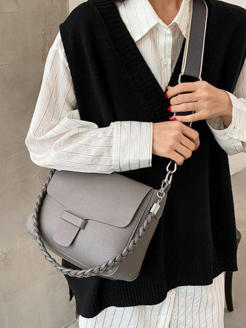outfits Braid Strap Cover Shoulder Bag - GRAY  Mobile