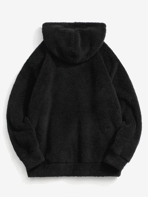 buy ZAFUL Letter Embroidered Kangaroo Pocket Fluffy Hoodie - BLACK 2XL Mobile