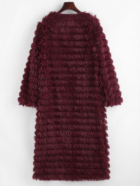 Shaggy Faux Fur Open Front Coat - أحمر XL Mobile