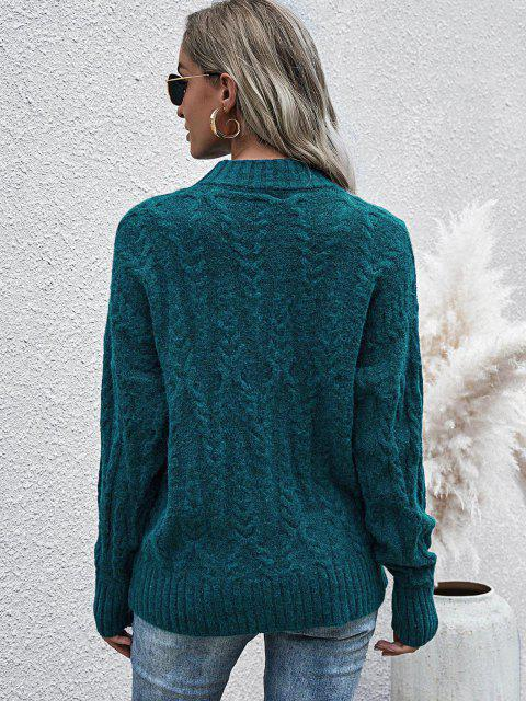 shops Loose Mock Neck Cable Knit Sweater - DEEP GREEN ONE SIZE Mobile