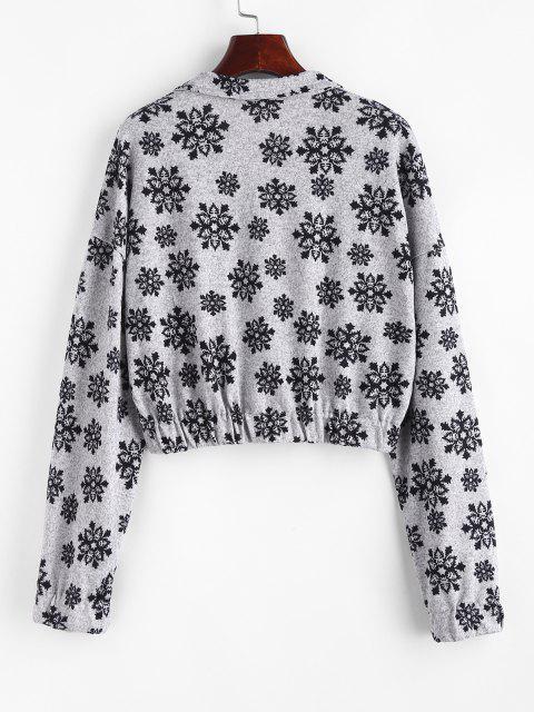 buy Christmas Snowflake Half Zip Knitwear - GRAY S Mobile