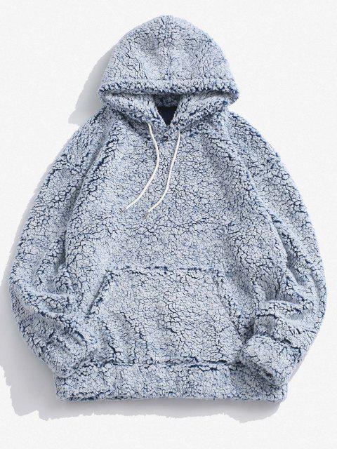online Kangaroo Pocket Faux Shearling Hoodie - LIGHT BLUE S Mobile