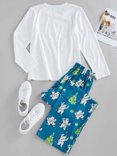 ZAFUL Pantaloni con Stampa Dell'albero di Natale e Orso - Bianca M Mobile