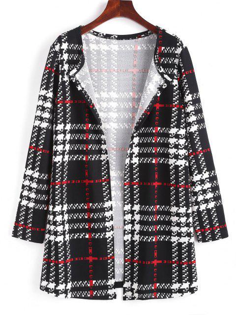 ZAFUL Long Plaid Open Front Coat - أسود M Mobile