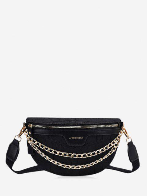 fashion Chain Wide Strap Crossbody Bag - BLACK  Mobile