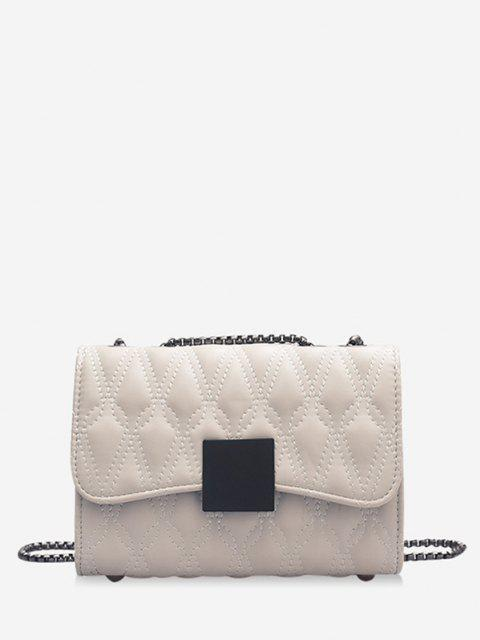 Water Drop Quilted Chain Crossbody Bag - أبيض  Mobile