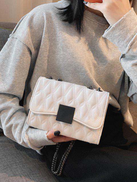 fancy Water Drop Quilted Chain Crossbody Bag - WHITE  Mobile