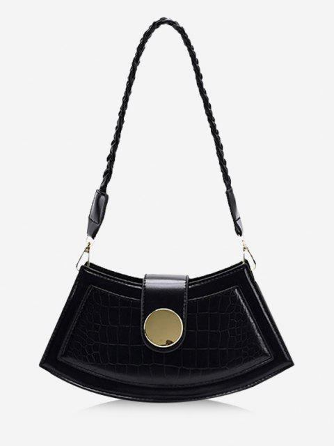 unique Braid Strap Textured Crossbody Bag - BLACK  Mobile