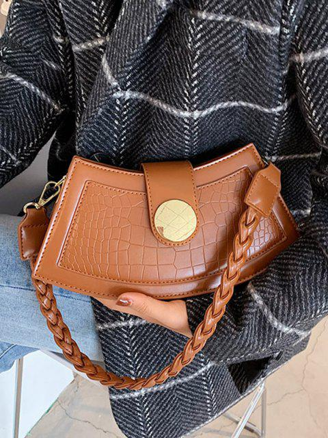 sale Braid Strap Textured Crossbody Bag - BROWN  Mobile
