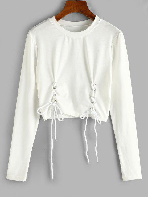 hot ZAFUL Lace-up Long Sleeve Crop Tee - WHITE M Mobile
