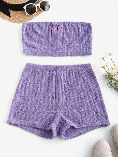 women's Eyelash Knitted Butterfly Embroidered Tube Shorts Set - LIGHT PURPLE S Mobile