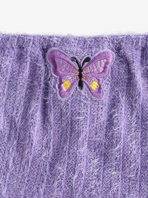 affordable Eyelash Knitted Butterfly Embroidered Tube Shorts Set - LIGHT PURPLE L Mobile