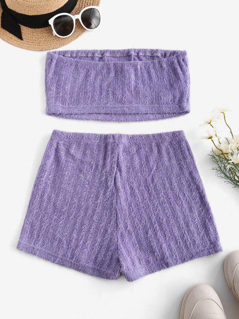 Conjunto de Shorts Bordado com Borboleta e Pestana - Luz roxa L Mobile