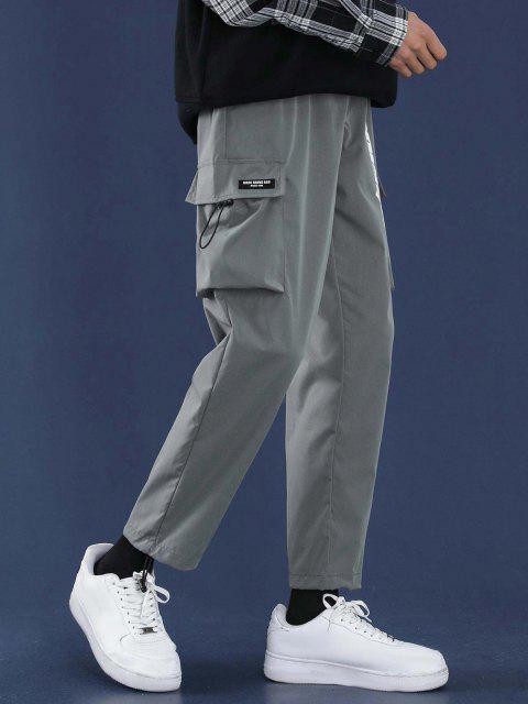 Pantalones Diseño Impreso Letras Tobillas Cordón Ajustable - Gris S Mobile