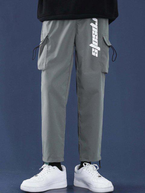 Pantalones Diseño Impreso Letras Tobillas Cordón Ajustable - Gris M Mobile