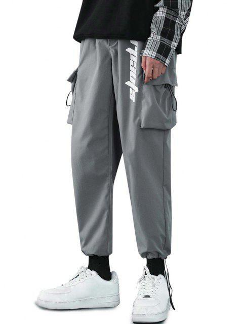 Pantalones Diseño Impreso Letras Tobillas Cordón Ajustable - Gris L Mobile