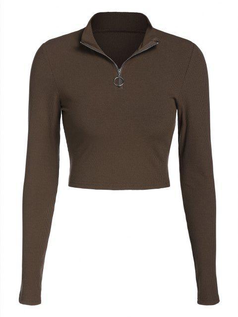 T-Shirt Corta con Cerniera di ZAFUL - marrone scuro XL Mobile