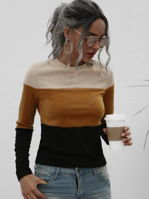 women Fitted Ribbed Colorblock Knitwear - COFFEE XL Mobile