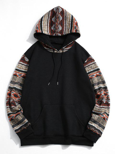 Tribal Patterned Kangaroo Pocket Fleece Hoodie - أسود S Mobile
