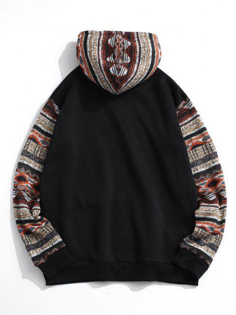 shops Tribal Patterned Kangaroo Pocket Fleece Hoodie - BLACK 2XL Mobile