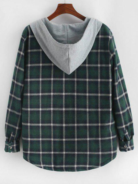women Plaid Print Double Pockets Hooded Padded Jacket - DEEP GREEN S Mobile