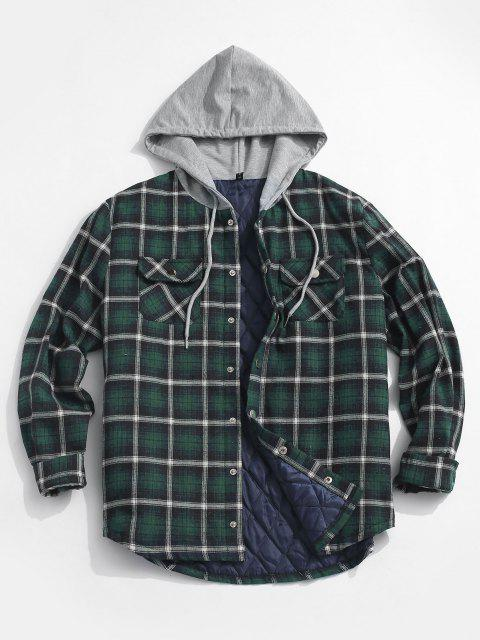 fashion Plaid Print Double Pockets Hooded Padded Jacket - DEEP GREEN XL Mobile