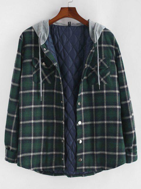 sale Plaid Print Double Pockets Hooded Padded Jacket - DEEP GREEN L Mobile