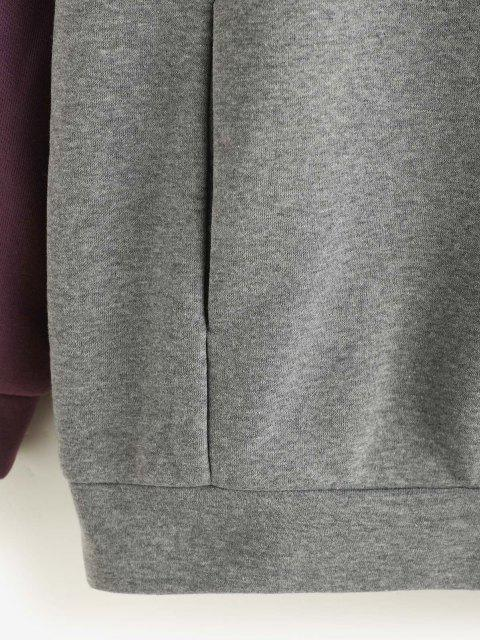 trendy ZAFUL Two Tone Pockets Half Zip Sweatshirt - PURPLE M Mobile