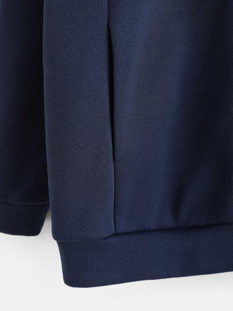 women ZAFUL Two Tone Half Zip Boyfriend Sweatshirt - BLUE M Mobile