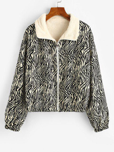 sale ZAFUL Zip Up Zebra Print Fleece Lined Jacket - BLACK M Mobile