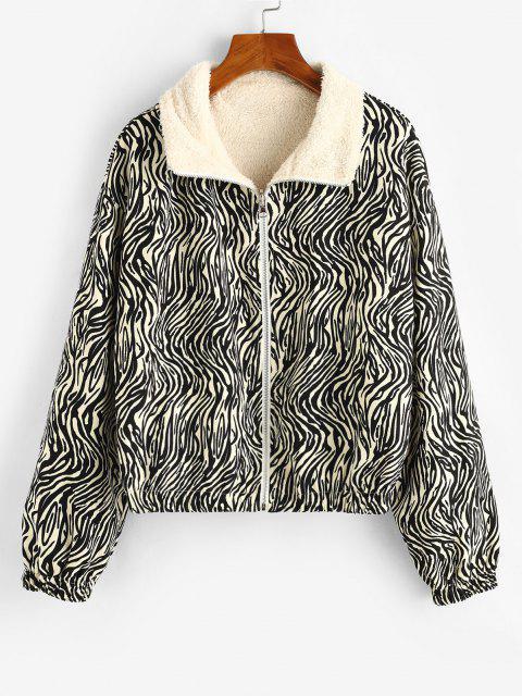 ZAFUL Zebra Vlies Gefütterte Jacke mit Reißverschluss - Schwarz S Mobile