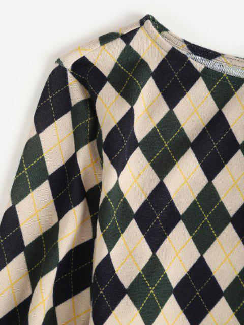 sale ZAFUL Long Sleeve Slinky Argyle Dress - DEEP GREEN M Mobile