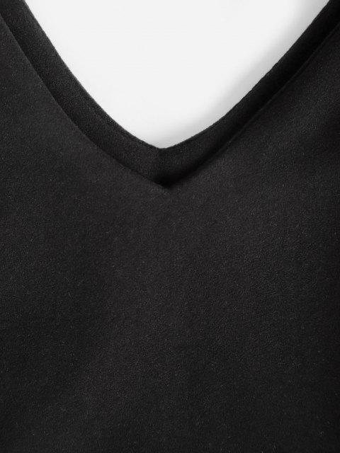 shops Long Sleeve Double V Slinky Mini Dress - BLACK M Mobile